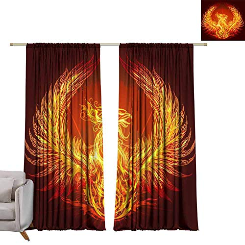 Adjustable Tie Up Shade Rod Pocket Curtain Tattoo with Flaming Phoenix in Doodle Tribal Style W84 x L108 Blackout Draperies for Bedroom Kitchen