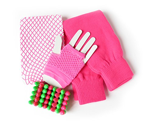 80s Leg Warmers, Fishnet Stockings, Fingerless Gloves and Rock Bracelet (Neon Pink) (1980 Fancy Dress Outfits)