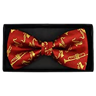 Men's Brass Musical Instruments Music Band Banded Pre-Tied Bow Tie (Red)