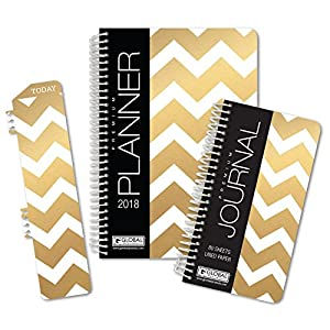 Best Planner 2018 Agenda for Productivity, Durability and Style. 5x8 Daily Planner / Weekly Planner / Monthly Planner / Yearly Agenda. HARDCOVER Organizer with BOOKMARK and JOURNAL (Gold Chevron)