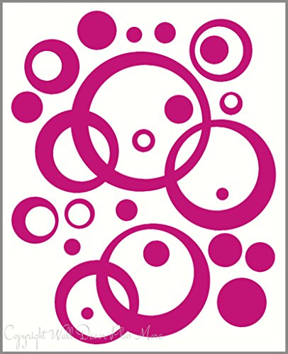 Wall Decor Plus More WDPM263 Wall Vinyl Sticker Decal Circles, Rings, Dots 25+pc 11in Large Home Decor, Lipstick Pink