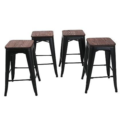 Amazoncom Changjie Furniture 26 High Backless Metal Bar Stool For