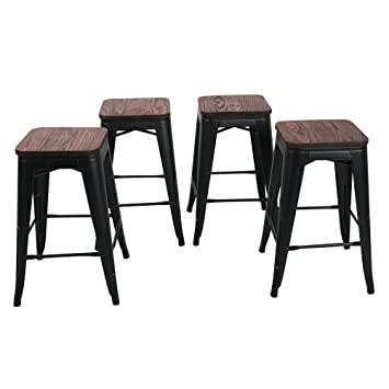 Amazoncom Changjie Furniture 24 High Backless Metal Bar Stool For