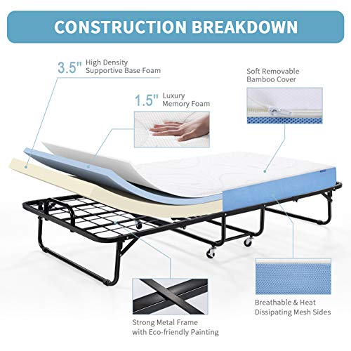 Inofia Folding Rollaway Bed-Twin