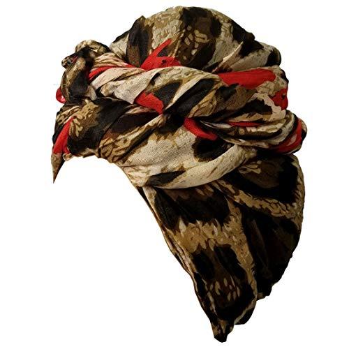 Cotton Print Wrap - Head Wrap Scarf Turban Cotton Head Wrap Scarf African Print Head Tie Scarf Animal Leopard Print for women fashion CLP (Leopard Animal Print Red)