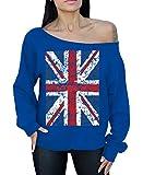 Awkwardstyles Union Jack Flag Off The Shoulder Oversized Sweater British Flag M Blue