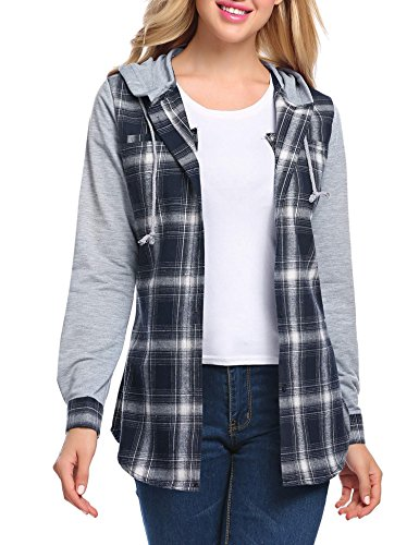 Zeagoo Women Flannel Shirt Hoodie Long Sleeve Checked Blouse