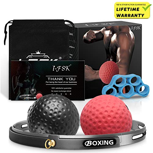 i-FSK Boxing Reflex Ball Fight Training Ball Perfect for Reaction, Agility, Punching Speed,Muscle Drills,Fight Skill and Hand Eye Coordination Training