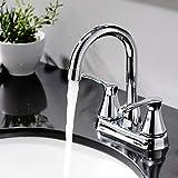 Comllen Modern Chrome Double Handle Basin Vanity Bathroom Faucet, Chrome Lavatory Faucet