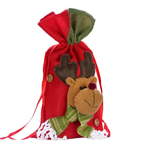 (Ikevan 2017 Christmas Santa Snowman Elk Gifts Sack Bags Christmas Color Red Candy Stocking Filler- Christmas Day Decoration 37x20cm (A))