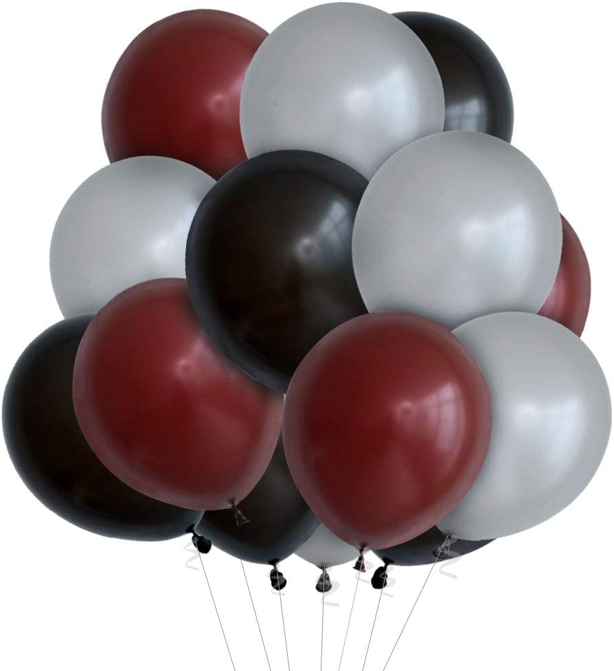 GIHOO 60pcs The Office Birthday Decorations, Brown Black Silver Balloons for Office Theme Birthday Party Decoration(Black Brown Silver)