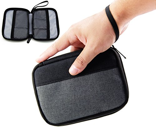 Admirable Idea Small Electronic Organizer Pouch Universal Zipper Travel Cosmetic Makeup Handbag Coins/USB/Hard Drive/Cables Carry Case with Hand Strap