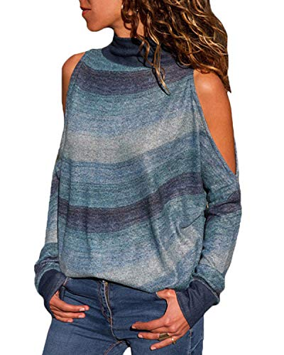 (YOINS Cold Shoulder Turtleneck Top for Women Geometric Stripe Long Sleeves Casual Blouse Dark Green L)