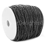 CleverDelights Curb Chain Spool - 3x5mm Link - Gunmetal Color - 330 Feet - Bulk Jewelry Chain Roll