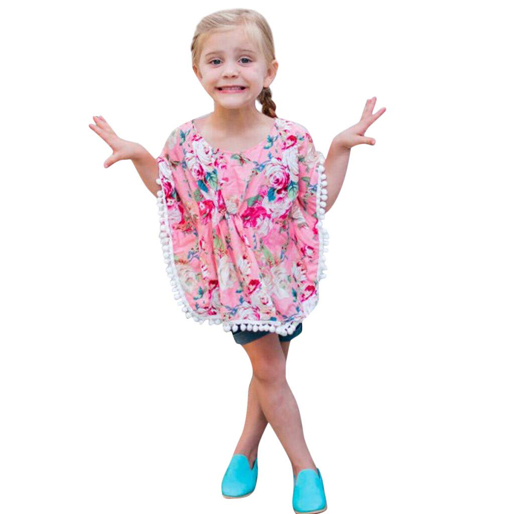 Tomppy Toddler Infant Baby Girl Floral Tassel Beach Tops Cover Up Kaftan Outfits Smock