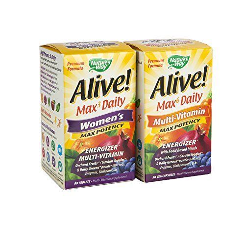 Maven Gifts: Nature's Way Alive Max Potency Multi-Vitamin Capsules, 90-Count with Nature's Way Alive Women's Multi Maximum Potency Tablets, 90-Count