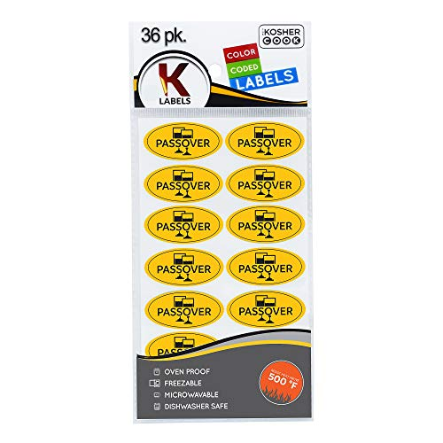 Passover Labels English - 36 Pack - Oven Proof, Freezable, Microwaveable and Dishwasher Safe Stickers - Pesach Seder and Kitchen Accessories by The Kosher - Passover Sticker