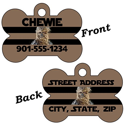 uDesignUSA Disney Star Wars Double Sided Pet Id Dog Tag Personalized w/ 4 Lines of Text (Chewbacca) ()