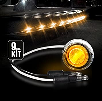 AMBER Universal Amber LED Front Lower Air Dam Light Kit with Smoked Lens and Black Bezel 9pc Sequentially Connected LED Lights