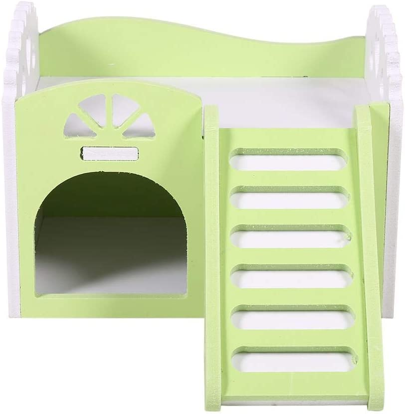 Sheens Double-Decker Hamster House Food Color House Easy to Clean Nest Hideaway Room for Hamster Guinea Pig Chinchillas Mice Rats