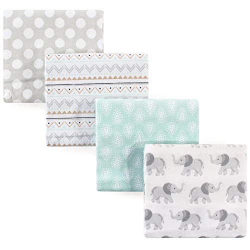 Hudson Baby Unisex Baby Cotton Flannel Receiving Blankets, 4-Pack, Gray Elephant, One Size