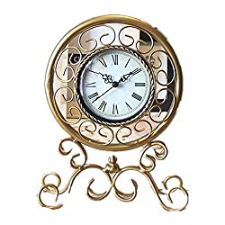 SHAUA European Retro Desk Clock,Romance Roman Wrought Iron Table Top Clock Battery Operated