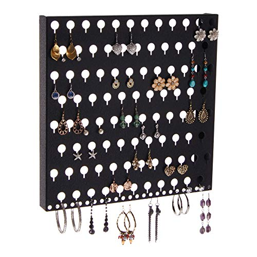 Angelynn's Jewelry Organizers Earring Holder Wall Mount Hanging Display Closet Storage Rack, Sariea Black