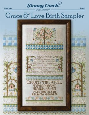 Grace & Love Birth Sampler Cross Stitch Chart and Free Embellishment