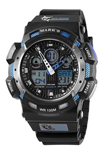 Diving Digital Analog (Mark's Men's Analog-Digital Black Dial Polyurethane Chronograph Multifunction Diving Watch (Blue Bazel))