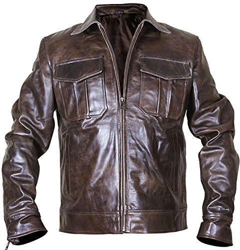 (Spazeup Rub Off Copper Vintage Cafe Racer Classic Leather Jacket)