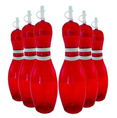 Large Bowling Pin Water Bottles Red - 6 Pack