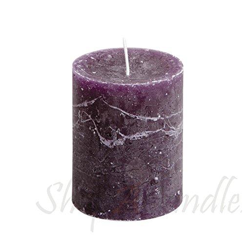 Marble Pillar Candle (Elegant Rustic Purple Marble Fnish Pillar Candle 2.1/2 inch Thick x 3 inch High Unscented Set of)