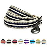 Blueberry Pet 8 Colors 3M Reflective Multi-colored Stripe Dog Leash with Soft & Comfortable Handle, 5 ft x 3/4'', Olive & Blue-gray, Medium, Leashes for Dogs