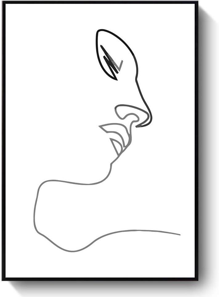 Femenino Abstracto de la Cara Imprimir una línea de Dibujo Femeninos líneas continuas Minimalista Obras de Arte Moderno Arte Cuadro de la Pared de la Sala de Estar (Color : B, Size : 40X60CM*1)
