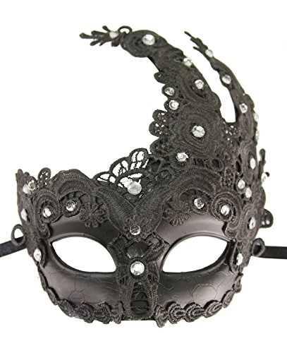 KAYSO Venetian Goddess Masquerade Mask Made of Resin, Paper Mache Technique with High Fashion Macrame Lace & Rhinestones (Black)