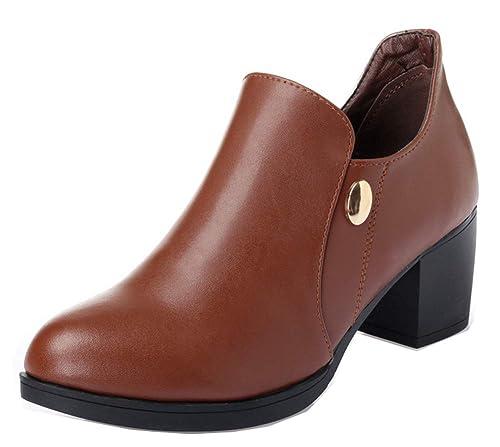 Easemax Femme Classique Talon Bloc Zip Chaussure de Bureau Bottines  Escarpins Brun 35 EU 54345c4be1b3