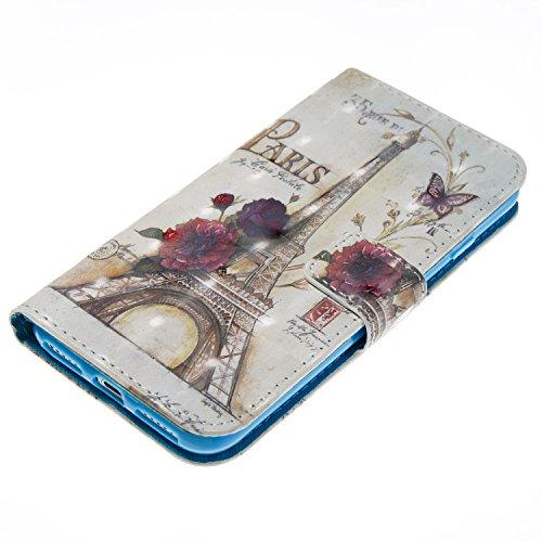 iPhone 7 Hülle Blumenturm PU Leder Wallet Handytasche Flip Etui Schutz Tasche mit Integrierten Card Kartensteckplätzen und Ständer Funktion Für Apple iPhone 7 4.7'' + Zwei Geschenk