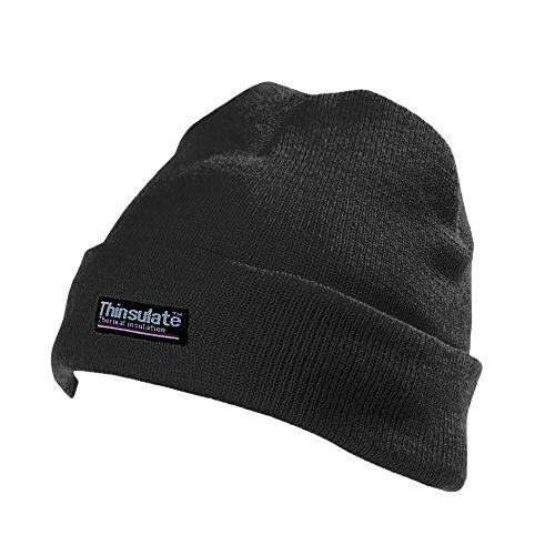 Yoko Unisex Hi-Vis Thermal 3M Thinsulate Winter Hat (One Size) (Black)