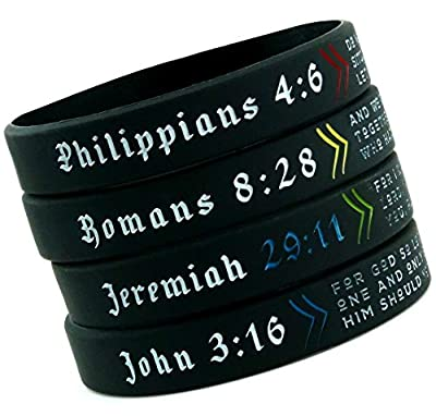Inkstone Christian Wristbands, Gift Pack - Religious Gifts for Teens Men Women - Set of 4 Bible Bracelets