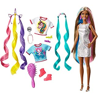 Barbie Fantasy Hair Doll, Brunette, with 2 Decorated Crowns, 2 Tops & Accessories for Mermaid and Unicorn Looks, Plus Hairstyling Pieces, for Kids 3 to 7 Years Old, Multi, Model:GHN05
