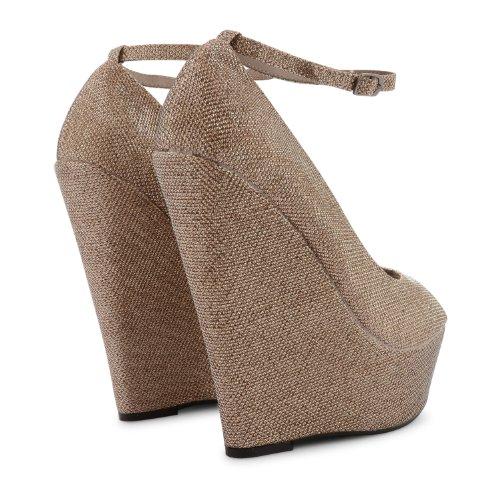 Footwear Sensation - Sandalias de vestir de sintético para mujer Beige - Nude Shine