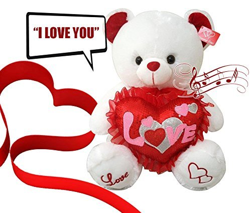 Musical I Love You Teddy Bear 13 Inches tall You hear Kissing Sound & then Bear Says I Love You When Paw Is Pressed Valentines Day Gifts for Wife, Husband , Boyfriend, or Girlfriend