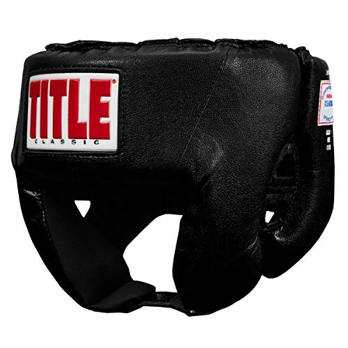 (Title Boxing Classic USA Boxing Competition Headgear (Open Face), Black, Large)