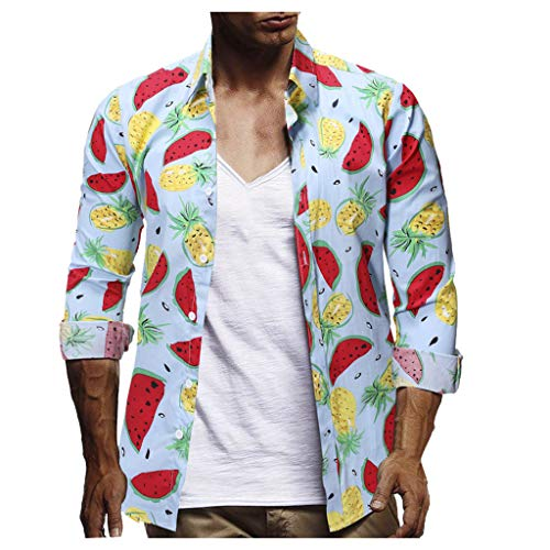 Tee Shirts Big and Tall Simayixx Men's Hawaiian Shirt Mid Sleeve Beach Shirts Casual Button Down Summer Tops Blouses Blue ()