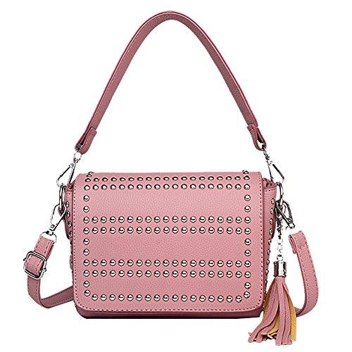 SCENTW Women Designer Handbags Small Pu Leather Ladies Shoulder Bags Classic Tassels Rivet Crossbody Bags (Pink)