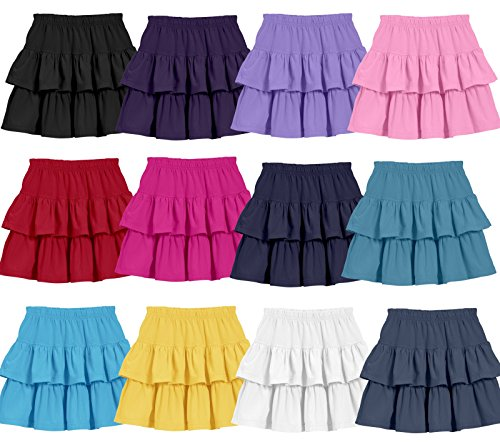 City Threads Girls Soft 100% Cotton Tiered Skirt For School or Play Made In USA