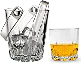 "Circleware Karat Whiskey Glass & Matching Ice Bucket Set of 8, 6-10 oz, Double Old Fashioned Drinking Glasses, 1-Bucket 5"" and 1-Tongs, Water Beer Beverage Glassware Home Entertainment Gift Set"