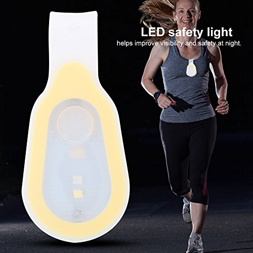 (2pcs Hand Free LED Flashlight Clip On to Clothing LED Magnet/Magnetic Lights Mini Night Light Running Button Silicone Clip Lamp for Camping, Hiking, Dog Walking, Running, Climbing (Yellow))