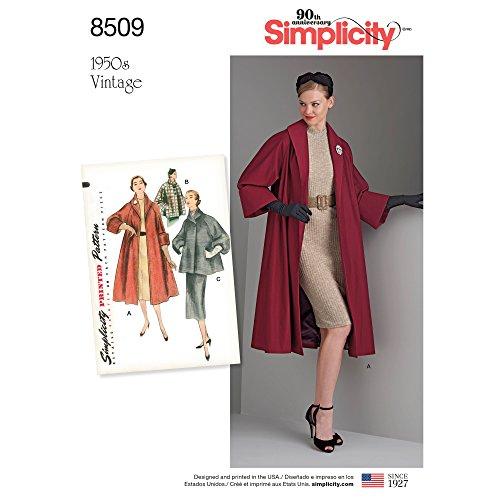 Simplicity Vintage US8509R5 Sewing Pattern Tops/Vest/Jkts/Coats, R5 (14-16-18-20-22)
