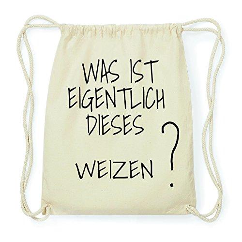JOllify WEIZEN Hipster Turnbeutel Tasche Rucksack aus Baumwolle - Farbe: natur Design: Was ist eigentlich c2Awi